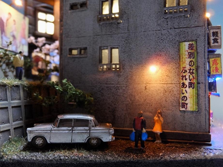 ◆1/150ジオラマ【昭和の情景】賑わう繁華街 LEDケース付◆ _画像4