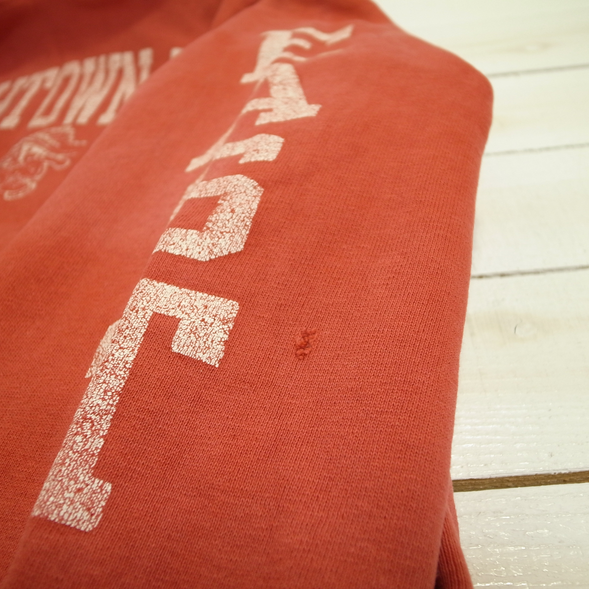 19e9f82814f069 80s USA製 トリコタグ チャンピオン リバースウィーブ スウェット パーカー M ビンテージ 両袖プリント 赤 Champion