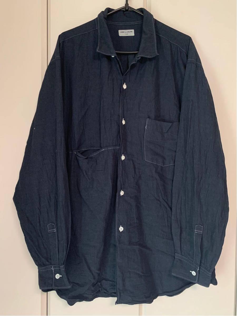 希少 ビンテージ COMME des GARCONS コムデギャルソン 長袖シャツ シャツ ステッチデザイン◎ オープンカラーシャツ 黒 ブラック 製品染