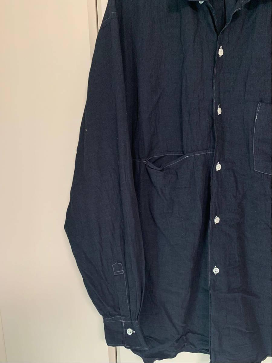 希少 ビンテージ COMME des GARCONS コムデギャルソン 長袖シャツ シャツ ステッチデザイン◎ オープンカラーシャツ 黒 ブラック 製品染_画像5