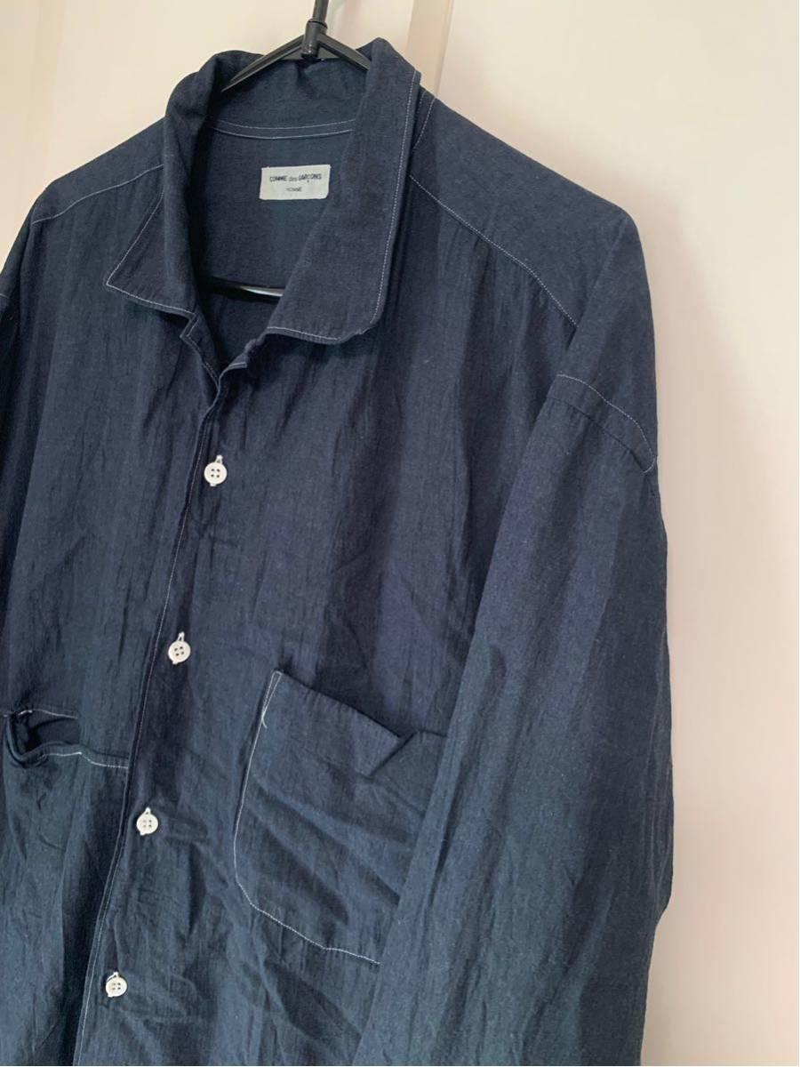 希少 ビンテージ COMME des GARCONS コムデギャルソン 長袖シャツ シャツ ステッチデザイン◎ オープンカラーシャツ 黒 ブラック 製品染_画像3