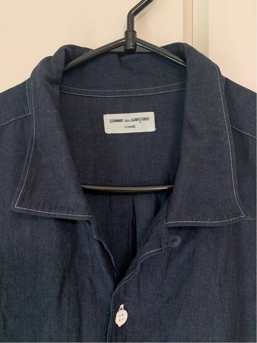 希少 ビンテージ COMME des GARCONS コムデギャルソン 長袖シャツ シャツ ステッチデザイン◎ オープンカラーシャツ 黒 ブラック 製品染_画像4