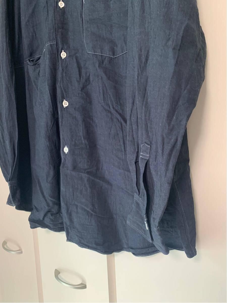 希少 ビンテージ COMME des GARCONS コムデギャルソン 長袖シャツ シャツ ステッチデザイン◎ オープンカラーシャツ 黒 ブラック 製品染_画像2