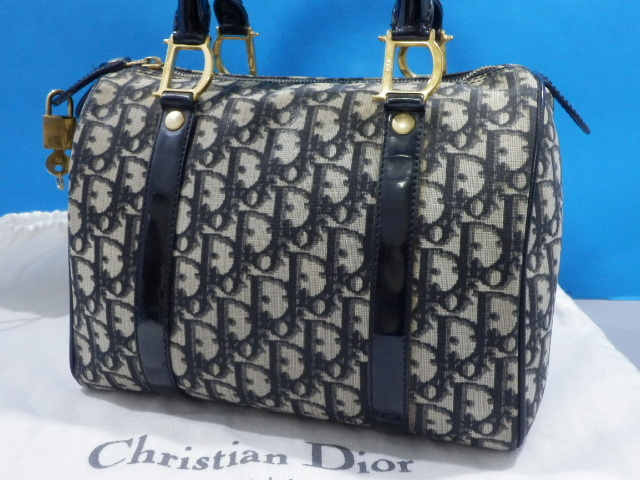 1円 Dior ディオール PVC×エナメル トロッター ハンド バッグ ブラック×ゴールド