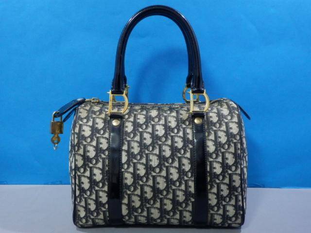 1円 Dior ディオール PVC×エナメル トロッター ハンド バッグ ブラック×ゴールド_画像2