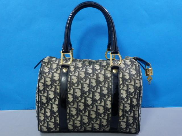 1円 Dior ディオール PVC×エナメル トロッター ハンド バッグ ブラック×ゴールド_画像3