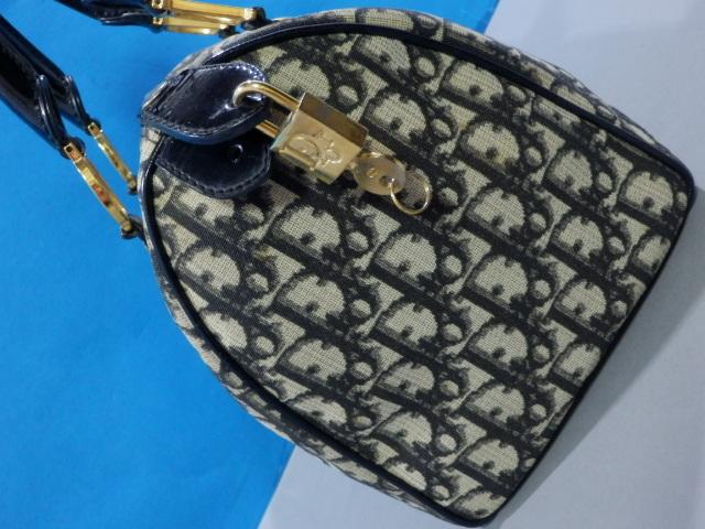 1円 Dior ディオール PVC×エナメル トロッター ハンド バッグ ブラック×ゴールド_画像4