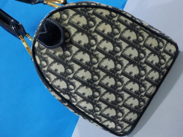 1円 Dior ディオール PVC×エナメル トロッター ハンド バッグ ブラック×ゴールド_画像5
