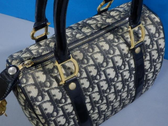 1円 Dior ディオール PVC×エナメル トロッター ハンド バッグ ブラック×ゴールド_画像7