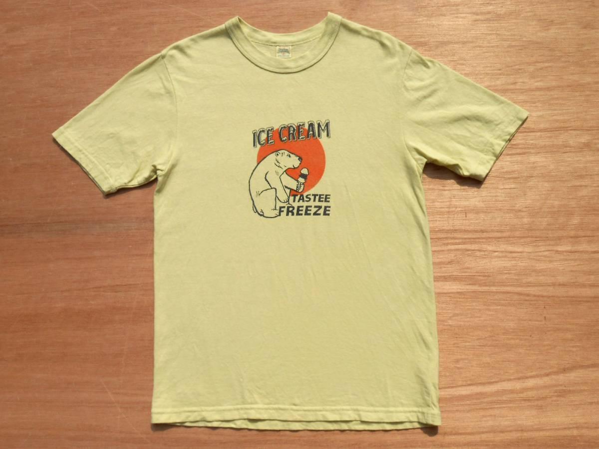 UES ウエス 半袖 プリント Tシャツ 2 M 製品染め ICE CREAM イエロー 黄 アイスクリーム THE CRACKER ザクラッカー