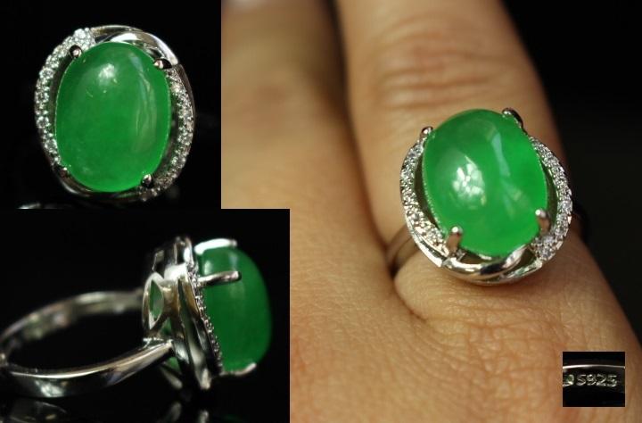 【最上】新品 本翡翠 指輪 満緑翡翠 アンティーク シルバー925 指輪 リング 根付 官領 翡翠官帽装 ひすい ヒスイ 263A12