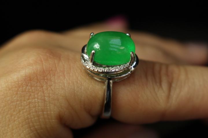【最上】新品 本翡翠 指輪 満緑翡翠 アンティーク シルバー925 指輪 リング 根付 官領 翡翠官帽装 ひすい ヒスイ 263A12_画像3