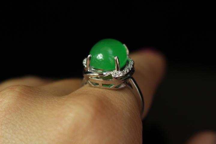 【最上】新品 本翡翠 指輪 満緑翡翠 アンティーク シルバー925 指輪 リング 根付 官領 翡翠官帽装 ひすい ヒスイ 263A12_画像5