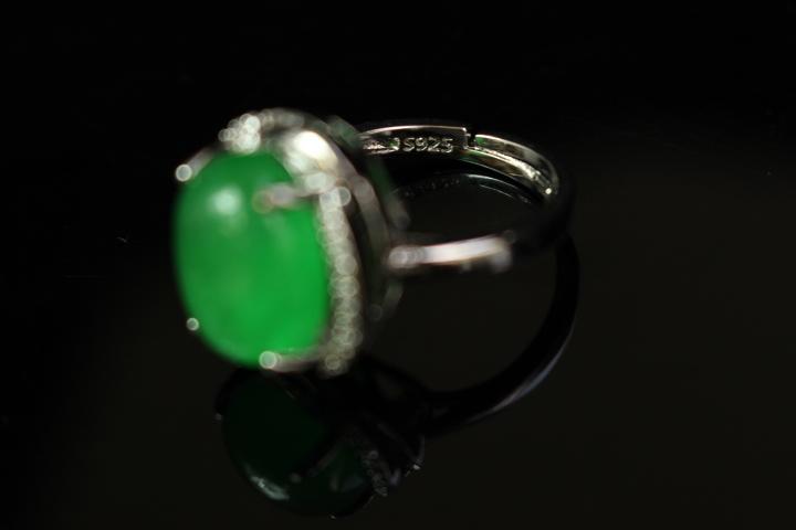 【最上】新品 本翡翠 指輪 満緑翡翠 アンティーク シルバー925 指輪 リング 根付 官領 翡翠官帽装 ひすい ヒスイ 263A12_画像8