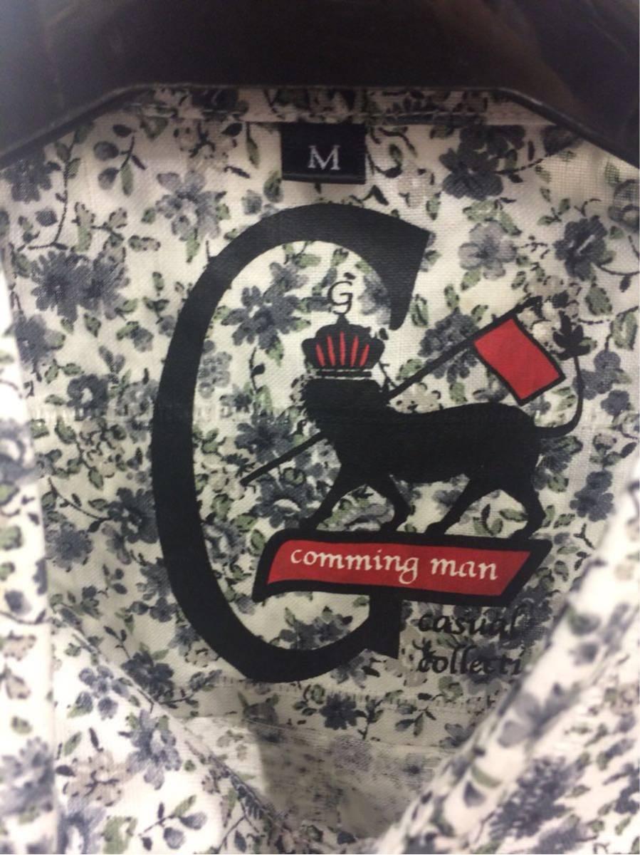 G-STAGE ジーステージ ワイシャツ Mサイズ 花柄 グレー ハンカチ付き_画像3