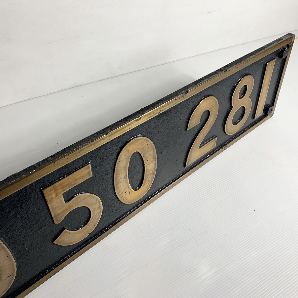 ボルト付 実装品!!超希少 国鉄 当時物 D50 281 デゴマル SL D50形 蒸気機関車 砲金 ナンバープレート 番号板 車両部品 鉄道 北海道 デゴレ_画像5