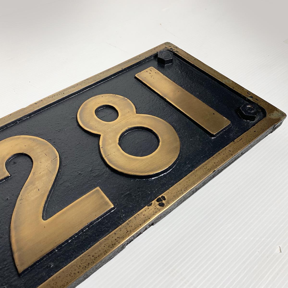 ボルト付 実装品!!超希少 国鉄 当時物 D50 281 デゴマル SL D50形 蒸気機関車 砲金 ナンバープレート 番号板 車両部品 鉄道 北海道 デゴレ_画像4