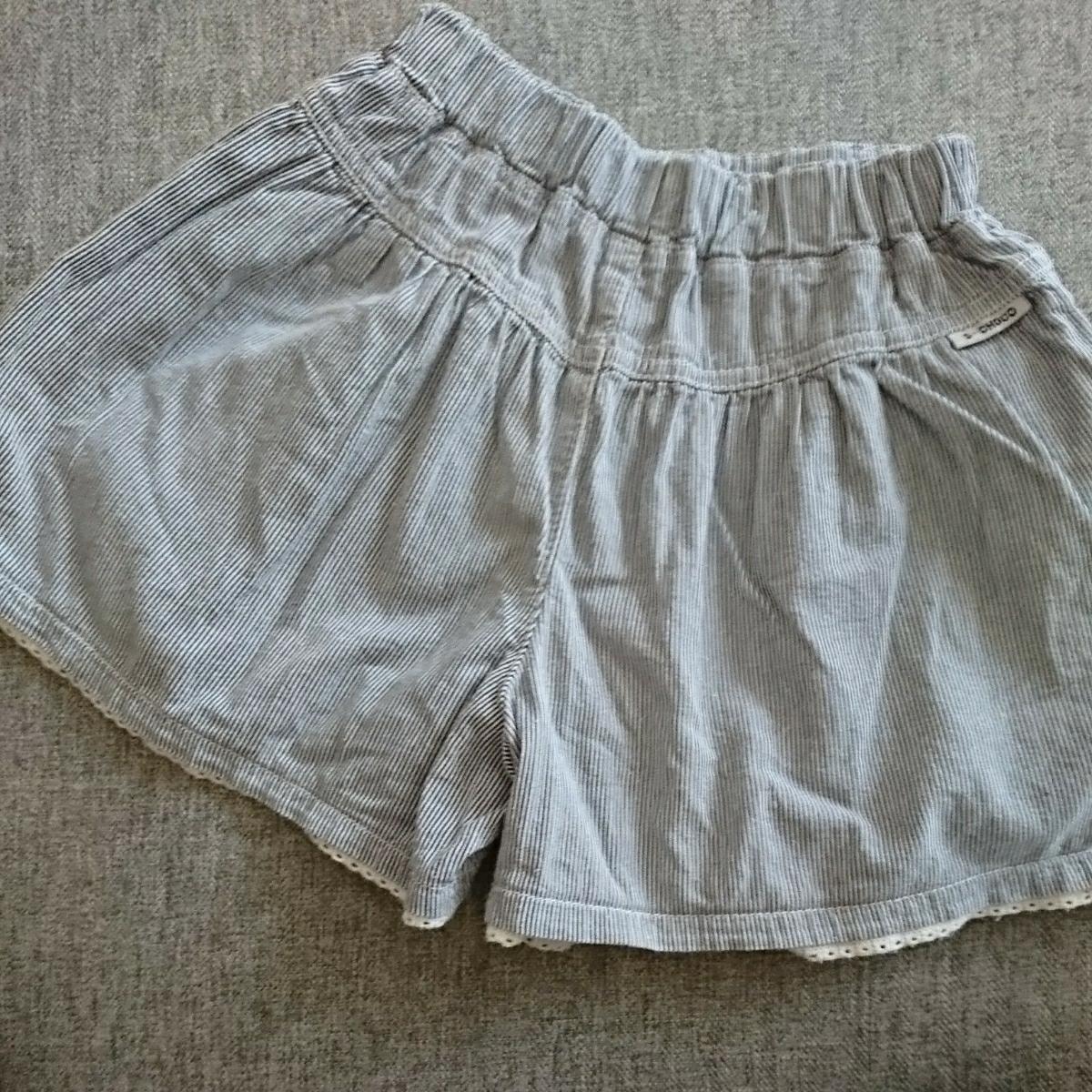 涼しい綿100%涼しげ細ストライプ薄手ショートパンツ 130cmキュロットスカート女の子_画像2