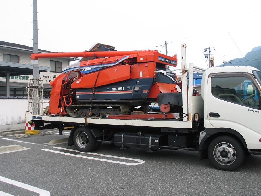 オークション運送、運びます、日本全国離島まで、コンバイン、トラクター、田植え機、リフト、ユンボ