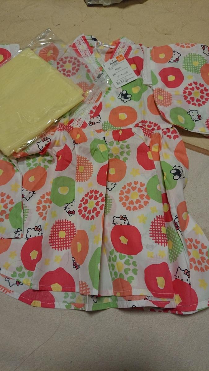 【新品】サンリオ キティちゃん ワンピース浴衣 100㎝ 帯付き_画像1