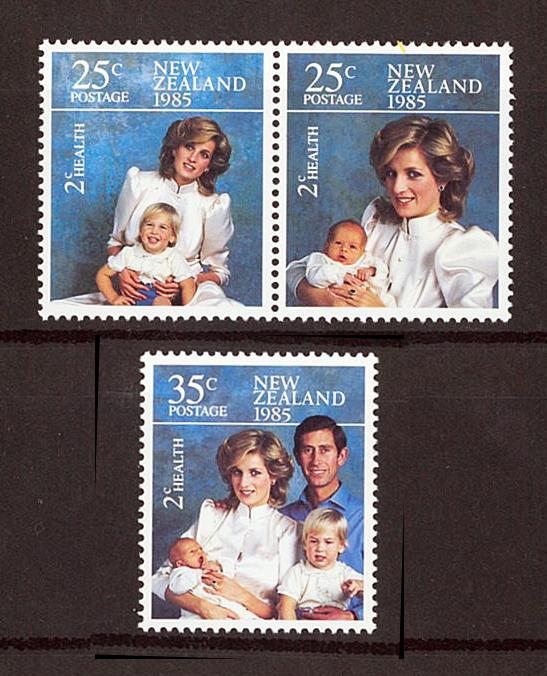 外国切手+初日カバー ニュージーランド ダイアナ妃 ヘンリー王子 ウィリアム王子 チャールズ皇太子 1985年