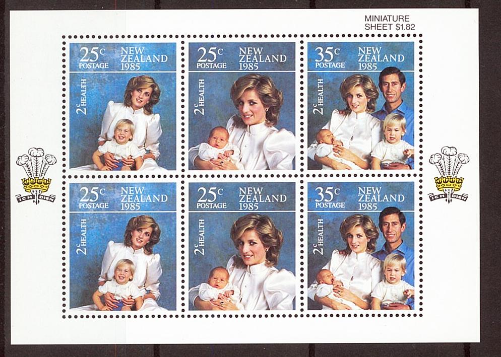 外国切手+初日カバー ニュージーランド ダイアナ妃 ヘンリー王子 ウィリアム王子 チャールズ皇太子 1985年_画像2