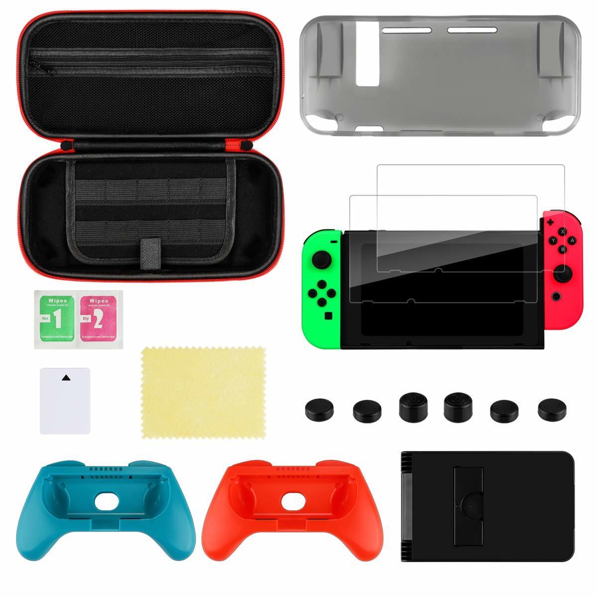 Nintendo Switch ケース 任天堂スイッチケース 保護カバー グリップ スタンド機能付き スイッチケース キャリング 大容量 収納バッグ 防水