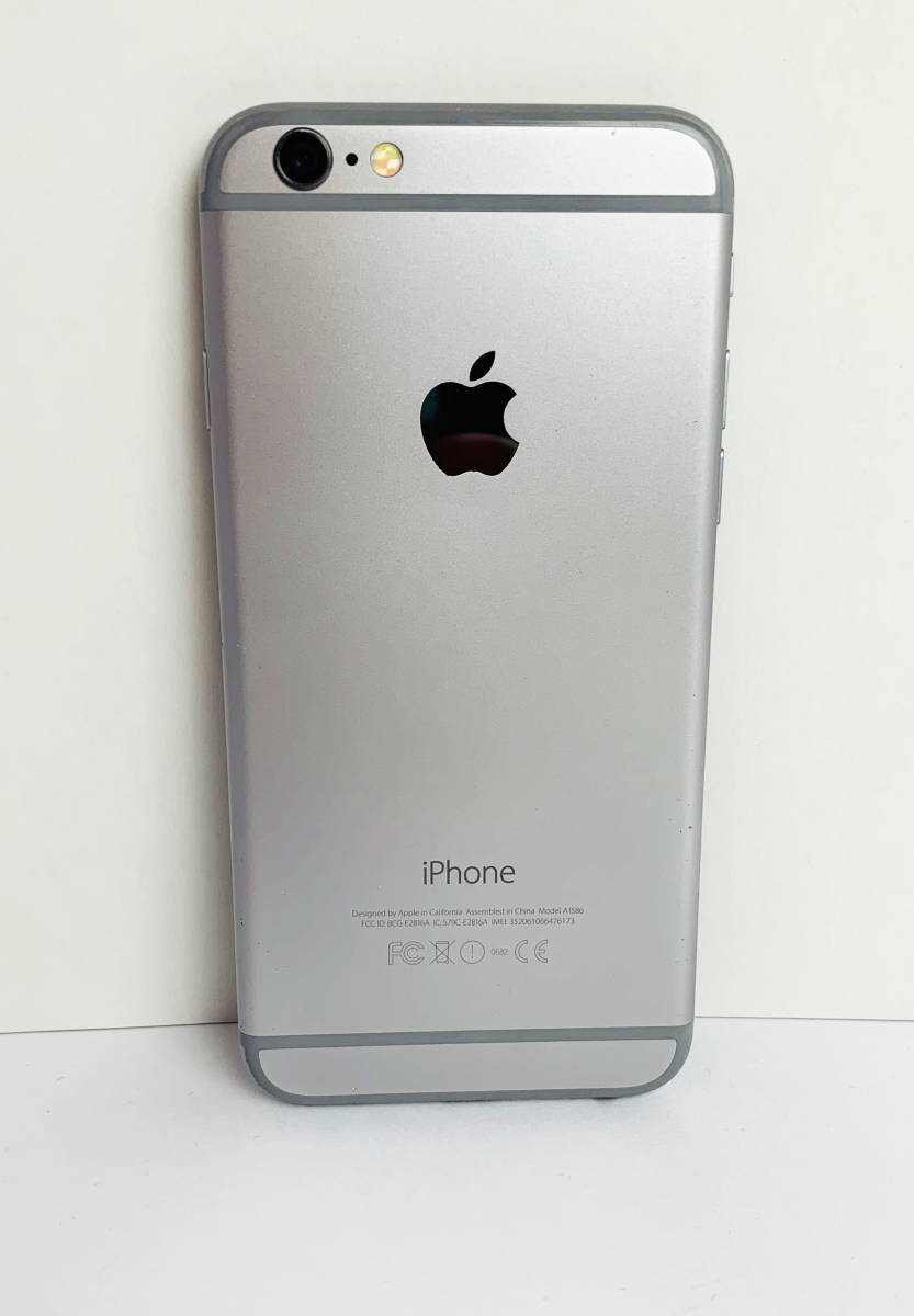 質屋出店 中古品 初期化済み Apple iPhone6 A1586 MG4A2J/A 128GB スペースグレイ ○判定 ジャンク品 1円オークション_画像2