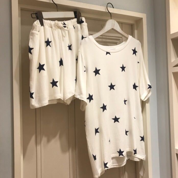 新品未使用品 ジェラートピケ スター星柄Tシャツ&ハーフパンツセット メンズ 部屋着 ルームウエア Lサイズ 取り置き同梱OK_画像5