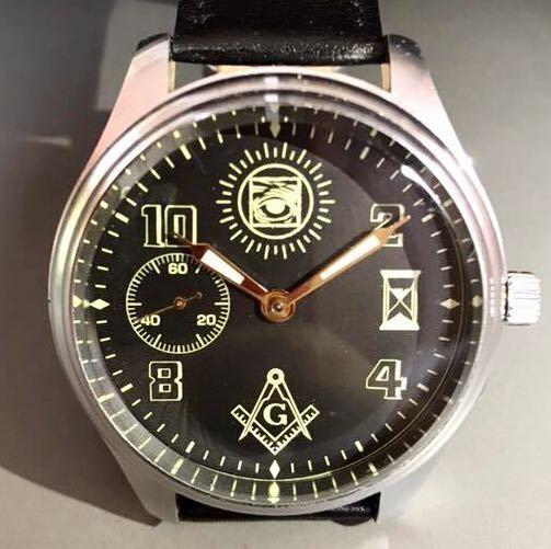 9da644e9c5 激レア☆美品☆ Molnija モルニヤ アンティーク ヴィンテージ フリーメイソン ブラック メンズ腕時計