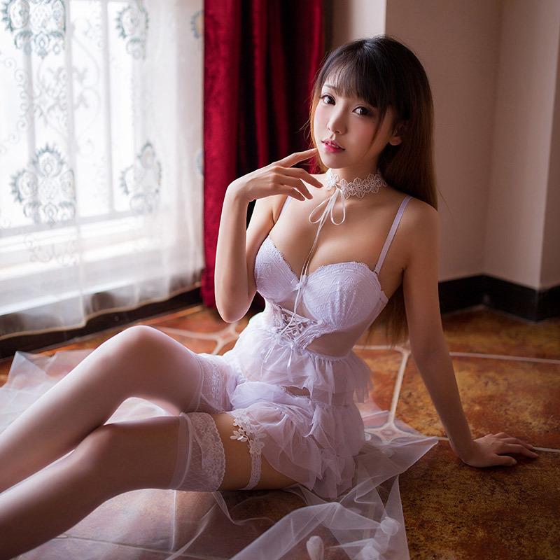 W134白 セクシーランジェリーセット ベビードール コスプレ衣装 メイド服 ルームウェア 部屋着 レディース 下着 安い 勝負下着_画像6