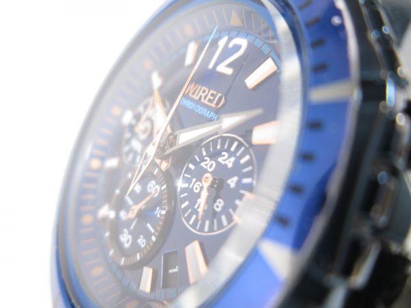 SEIKO セイコー WIRED ワイアード クロノグラフ クォーツ 回転ベゼル VK63-K270 ブルーブラック メンズ腕時計_画像3