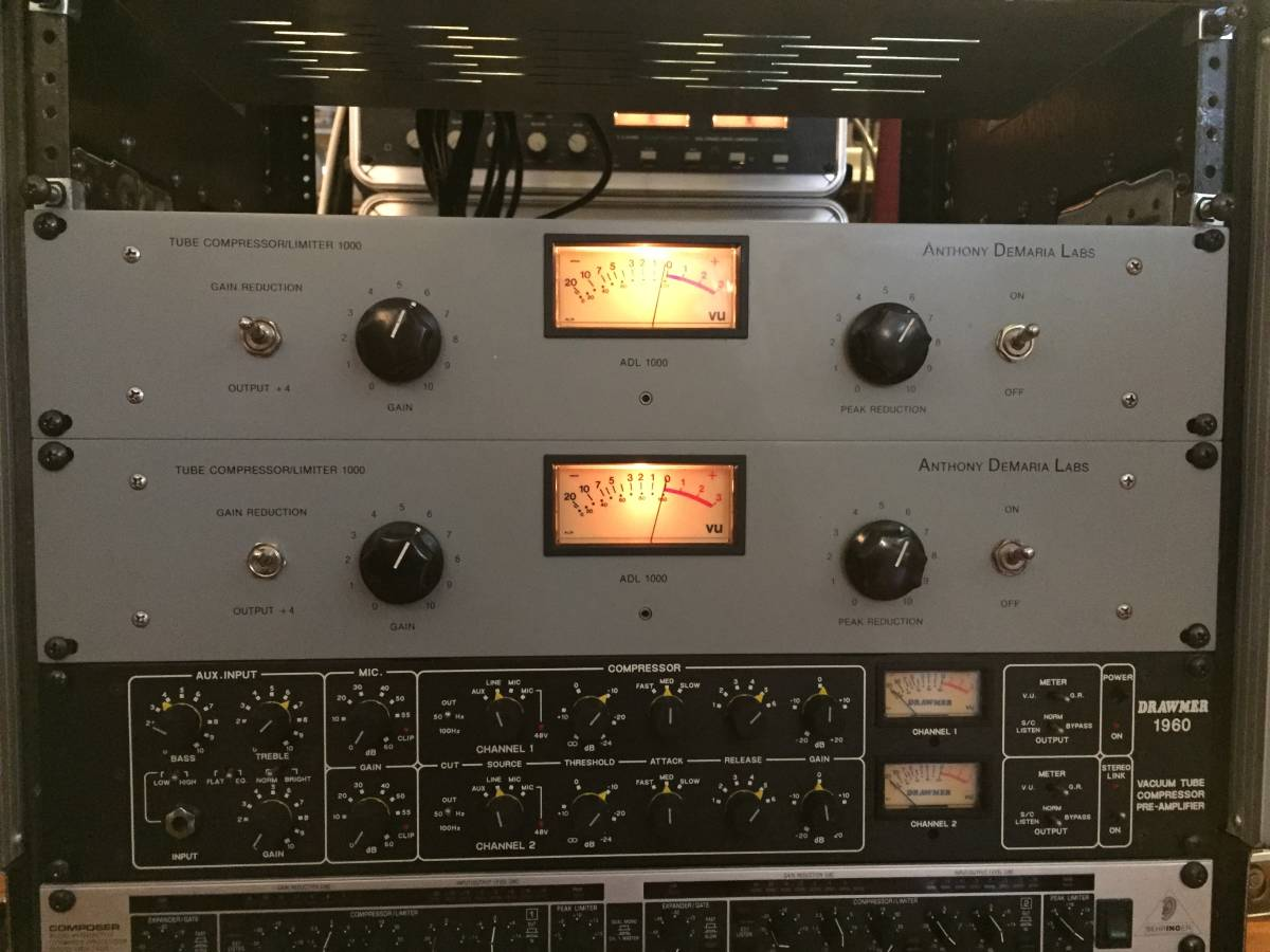 Anthony Demaria Labs ADL1000 2台 ラックSET マッチング加工済み  ( LA-2Aの現代版)    NEVE/API/SSL/AVALON/LA-3A/LA-2A/1176