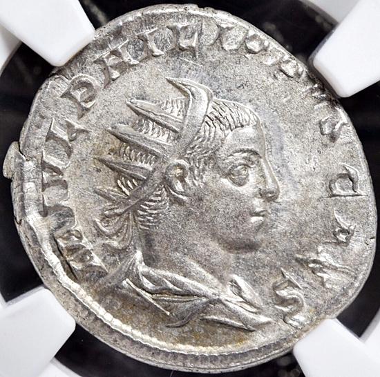 NGC鑑定AU★古代ローマ帝国 フィリップ2世 AD247-249 ダブルデナリウス銀貨 ローマ領エジプト フランク王国 フランス革命 アンティーク