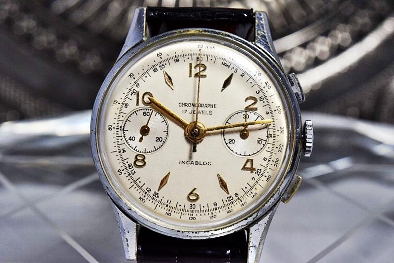 売切り!!1円~cal.175の原型★ヴィンテージ クロノグラフ 手巻き 腕時計 ビーナス cal.150 ヴィーナス Venus 飛びアラビア 1940-1950's_画像5