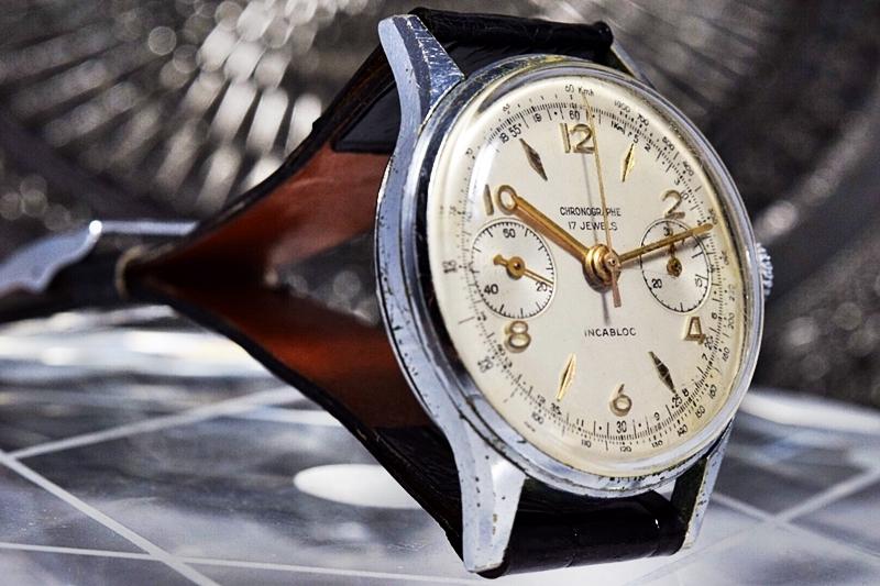 売切り!!1円~cal.175の原型★ヴィンテージ クロノグラフ 手巻き 腕時計 ビーナス cal.150 ヴィーナス Venus 飛びアラビア 1940-1950's_画像4