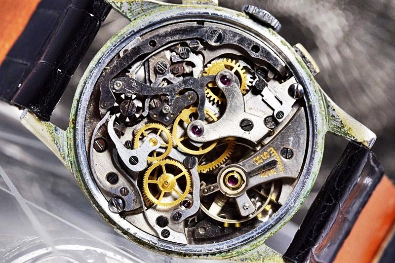 売切り!!1円~cal.175の原型★ヴィンテージ クロノグラフ 手巻き 腕時計 ビーナス cal.150 ヴィーナス Venus 飛びアラビア 1940-1950's_画像10