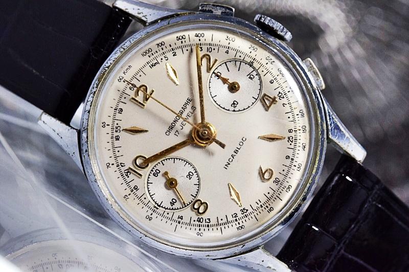売切り!!1円~cal.175の原型★ヴィンテージ クロノグラフ 手巻き 腕時計 ビーナス cal.150 ヴィーナス Venus 飛びアラビア 1940-1950's