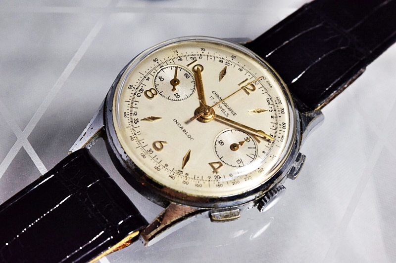 売切り!!1円~cal.175の原型★ヴィンテージ クロノグラフ 手巻き 腕時計 ビーナス cal.150 ヴィーナス Venus 飛びアラビア 1940-1950's_画像2