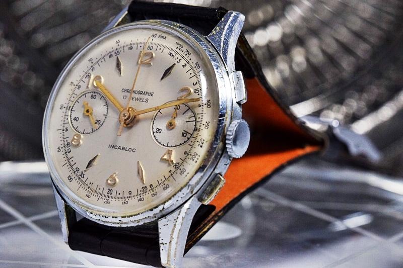 売切り!!1円~cal.175の原型★ヴィンテージ クロノグラフ 手巻き 腕時計 ビーナス cal.150 ヴィーナス Venus 飛びアラビア 1940-1950's_画像3