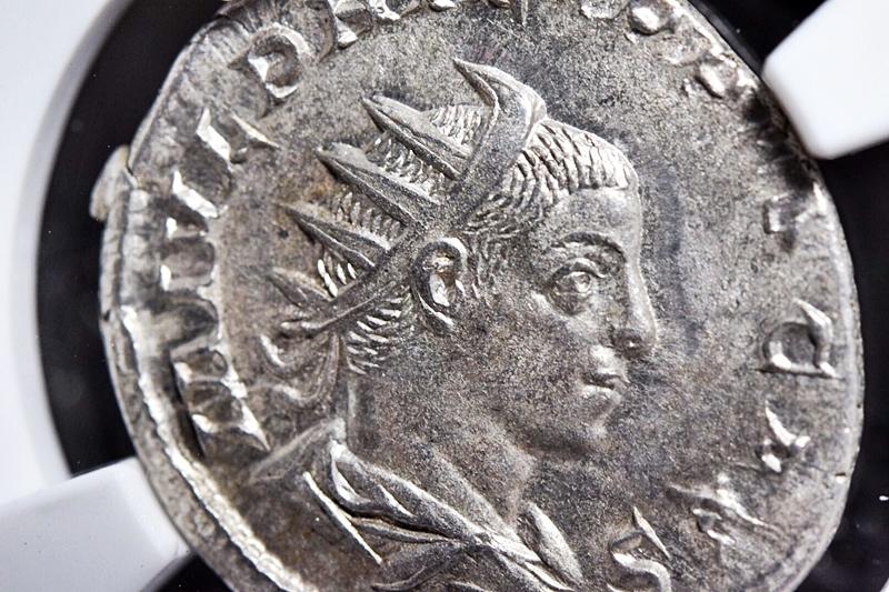NGC鑑定AU★古代ローマ帝国 フィリップ2世 AD247-249 ダブルデナリウス銀貨 ローマ領エジプト フランク王国 フランス革命 アンティーク_画像5