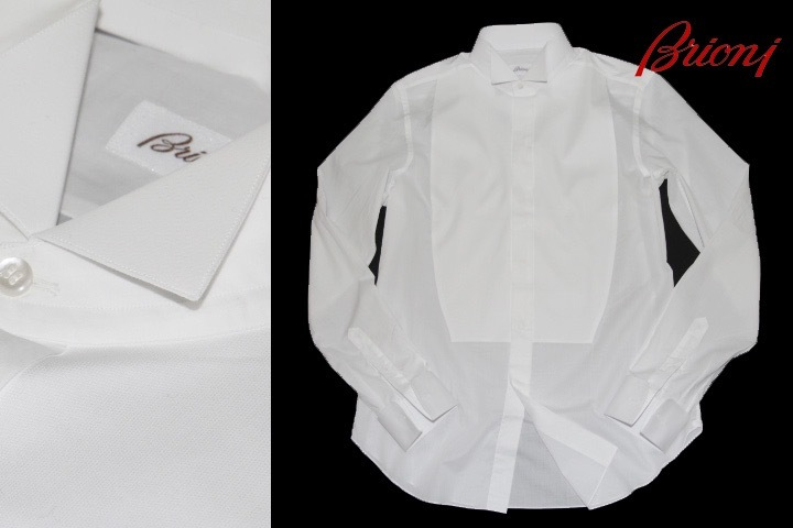 新品 14万【ブリオーニ】フォーマルに完璧な装い●ウイングカラー●ドレスシャツ 白 40