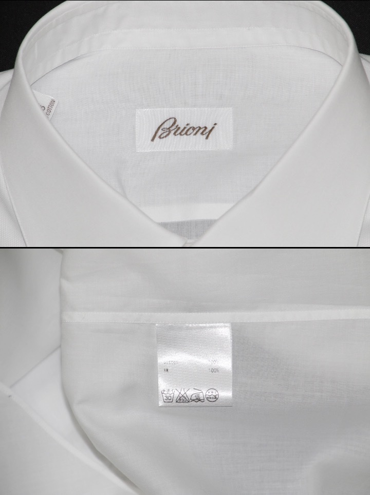 新品 14万【ブリオーニ】フォーマルに完璧な装い●ウイングカラー●ドレスシャツ 白 40_画像3