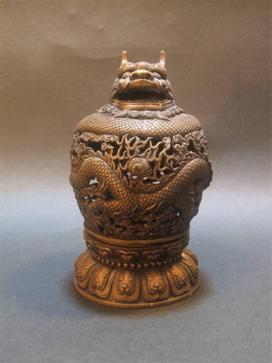 銅製 竜香炉_画像2
