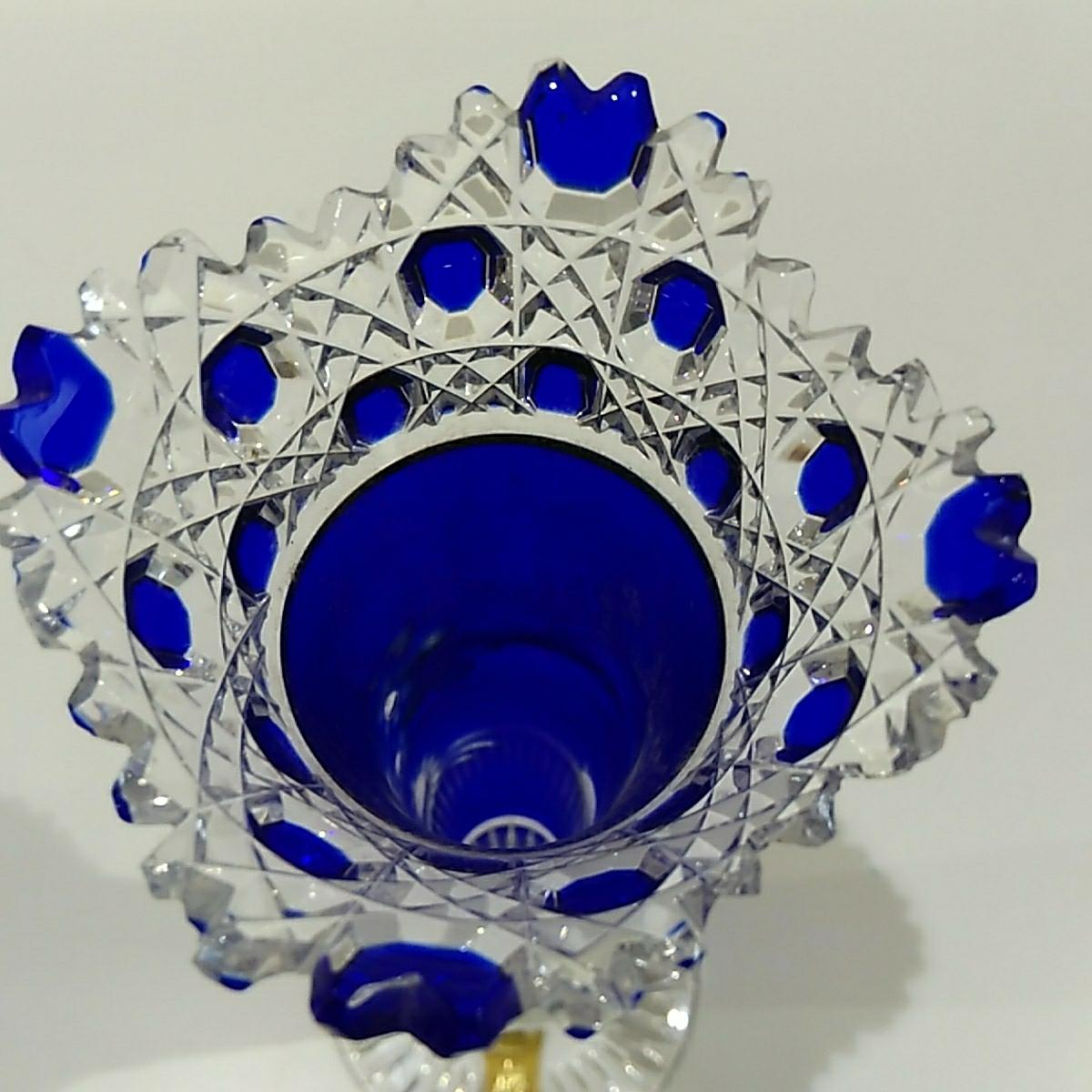 Meissen マイセン 花瓶 フラワーベース ガラス ブルー _画像5