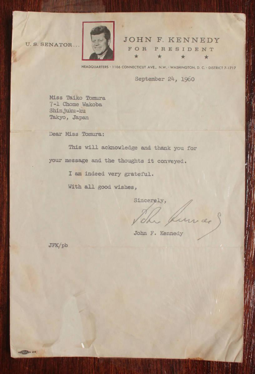 ジョン・F・ケネディ手紙 他5点一括 自筆署名書簡 肉筆サイン 大判ブロマイド 大統領選 上院議員 1960年 貴重資料 JFK ジャクリーン 兄弟_画像2