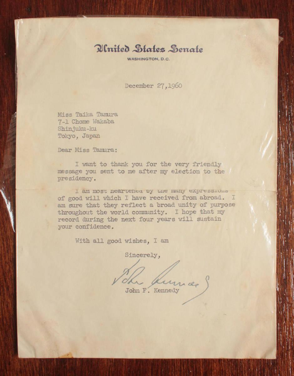 ジョン・F・ケネディ手紙 他5点一括 自筆署名書簡 肉筆サイン 大判ブロマイド 大統領選 上院議員 1960年 貴重資料 JFK ジャクリーン 兄弟_画像3