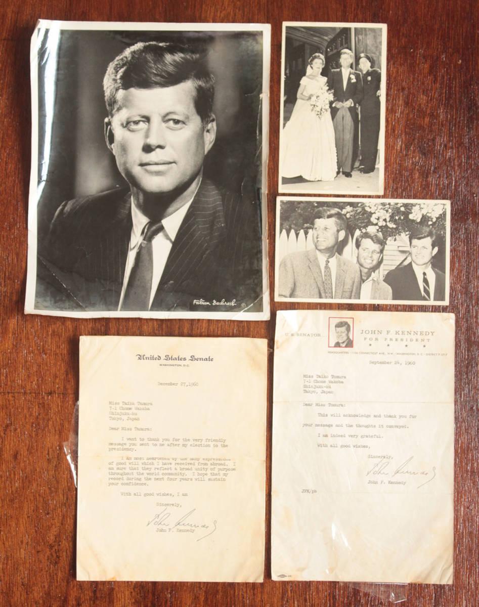 ジョン・F・ケネディ手紙 他5点一括 自筆署名書簡 肉筆サイン 大判ブロマイド 大統領選 上院議員 1960年 貴重資料 JFK ジャクリーン 兄弟