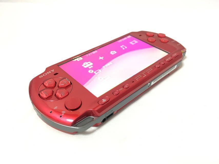 【新品同様 完品】PlayStation Portable PSP 3000 ラディアンレッド 【動作良好】 FW 6.37 シリアルNo 有りメモリースティック 8GB 付属_画像2