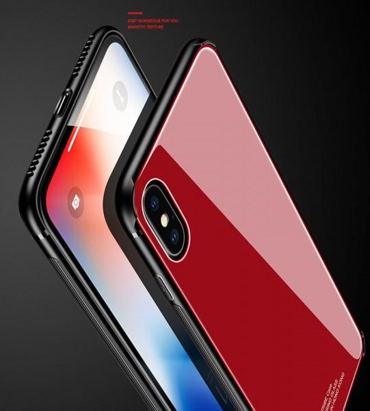 数量限定 耐衝撃TPUバンパー 背面ガラスプレート 高級 バンパー iPhone7/8 全面保護 耐衝撃 カバー 強化ガラスフィルム 赤 AHP32レッド8_画像8